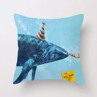 PARTY! Whale Throw Pillow Cushion Cover