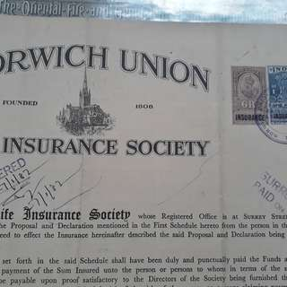 British INDIA - 1954 - NORWICH LIFE INSURANCE CERTIFICATE - vintage BIG SIZED Stamp Bond Paper WATERMARK