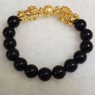 11mm Rainbow Obsidian Bracelet with A Pair of Gold Plated Pixiu and Gold Plated Silver Money Ball