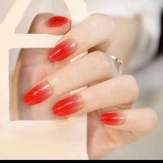 Chinese New Year red fake nail tips