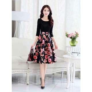 Korean Fashion Floral Dress
