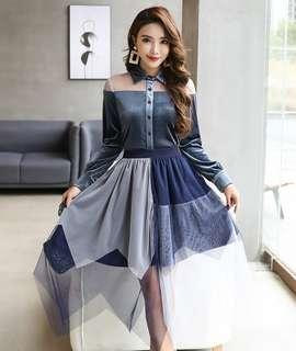 2018韓版時尚春季女裝新款 復古名媛氣質絲絨上衣+網紗半身裙兩件套裝