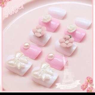 Valentines pinkish ready fake nail tips