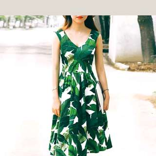Brand new A-line leaf dress