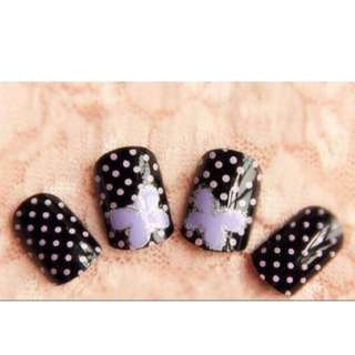 Romantic valentines purple ready fake nail tips