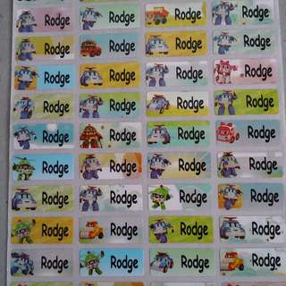 Poli Robocar waterproof name stickers