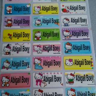 Hello kitty waterproof name labels