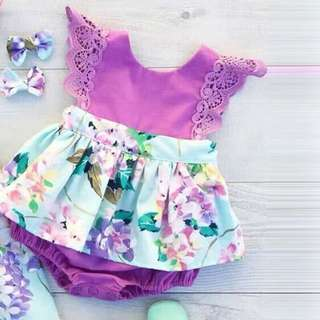 BB-010 Baby Girls Floral Rompers
