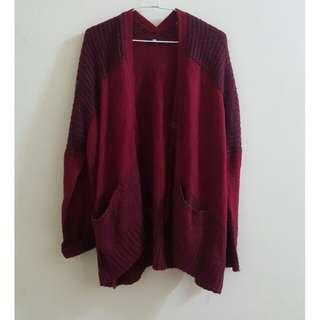 【二手】日牌 SLY 酒紅針織外套