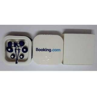 【全新未用過】Booking.com earphones headphone 耳機連繞線盒 繩  藍色 銀色