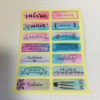 customised watercolour name stickers