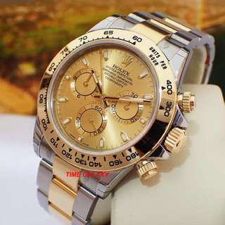 Brand New ROLEX Cosmograph Daytona 40mm Auto Chrono Champagne dial steel and yellow gold Watch. Model 116503. Swiss made.