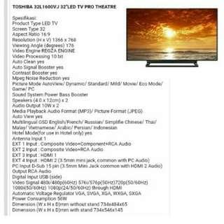 Toshiba LED 32inch pro theatre