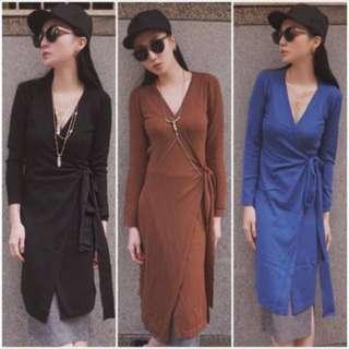 🚚 V領設計針織綁帶洋裝