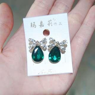 Earring Ribbon Emerald