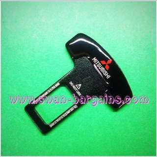 Universal Car Safety Belt Buckle Key Clasp Clip Alarm Silencer With Mitsubishi Logo