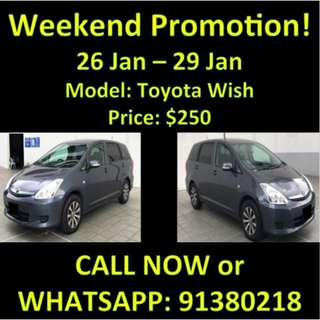 Toyota Wish Weekend Promotion