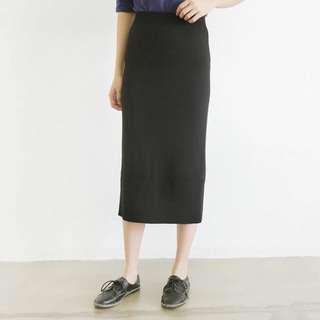 修身顯瘦黑色過膝針織包臀裙一字裙