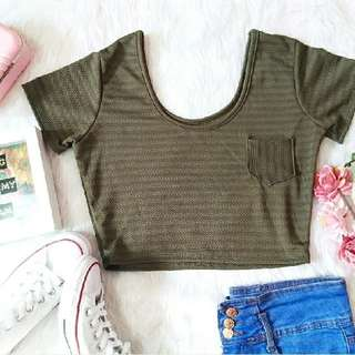 F21 Inspired Pocket Scoop Neck Crop Top