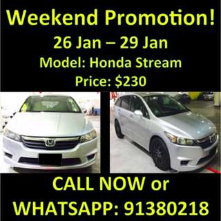 Honda Stream Weekend Promotion
