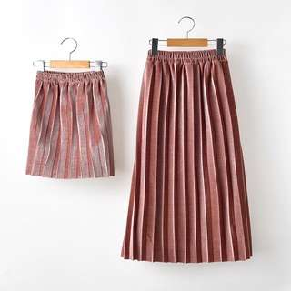 (Mother & Daughter outfit )Pleated Midi Skirt