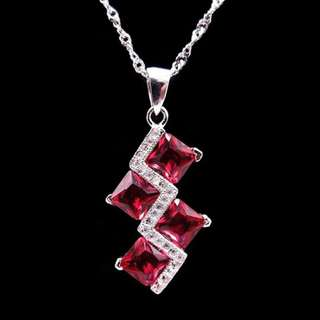 925 Sterling Silver pendant Red stone with Necklace