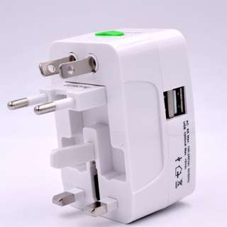 全新 100%new 雙USB 萬能轉插 充電轉插 adapter  送布袋 電話 平板 IPAD IPHONE 充電 叉電 英國 歐洲 日本 全球150個國家可用