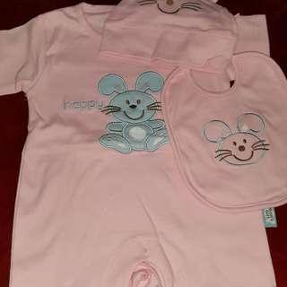 Baju bodysuit pink 3M