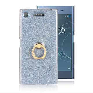 Sony 索尼XZ1 藍色手機套加鋼化防爆玻璃貼