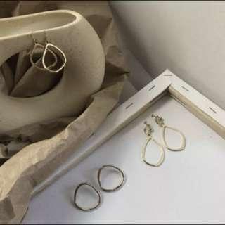 🚚 琥珀耳環、半圓琥珀、不規則水滴耳環