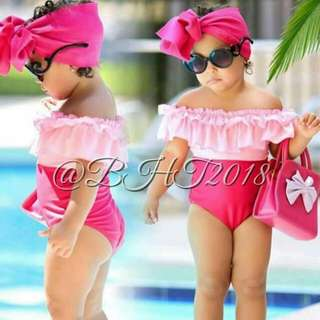 summer outfit for your baby girl :)  new arrival😍😍😍  👉💞swimsuit for kids/ turban included :)  👉💞nice fabric  👉💞mall quality  👉💞 S,M,L,XL,
