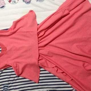 Dress pink flare skirt