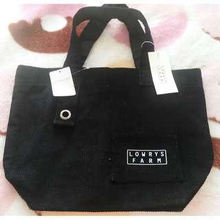 日本版 - Lowrys Farm 黑色登芯絨 環保袋 手挽袋 4A OK! Eco Bag Tote Bag