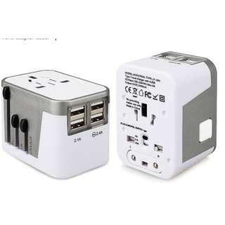 全新 100%new 快速充電 (6A) 4個 USB 萬能轉插 充電轉插 adapter 送布袋 電話 平板 IPAD IPHONE 充電 叉電 英國 歐洲 日本 全球150個國家可用