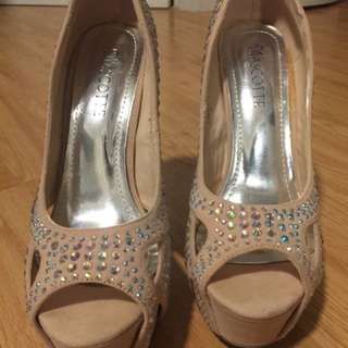 Classy Nude colour crystal studded shoes