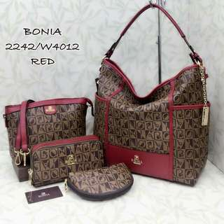 Bonia Hobo Bag 4 in 1 Red Color