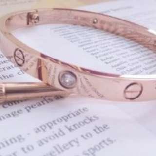 Rose Gold Love Bracelet With White Topaz