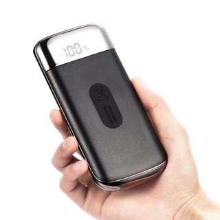 2018全新技術無線電源充電寶LED顯示屏 電筒照明 雙位USB有線快速充電 黑色 10000mAh 2.1A LED Display Quick Fast Charge Wireless Charging With Torch Dual USB Port Mobile Portable Power Bank ( Black Color ) For iPhone X 8 Plus Samsung Galaxy S8 Plus Note 8 Nokia LG HTC Huawei ( Joyroom )