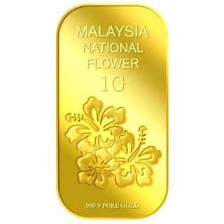 999 Puregold 1g Hibiscus gold bar