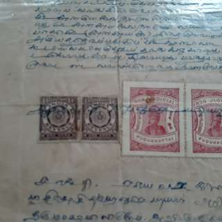 British India - BILLS OF EXCHANGE / RECEIPT - with Indian & PUDUKKOTTAI Revenue Stamps