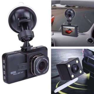 Car Camera - Front & Rear Dual Lens, Loop Recording, Motion Detection, 3 inch LCD