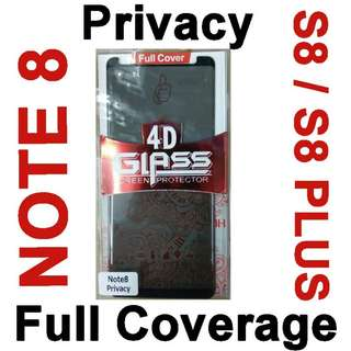 Note 8 / S8 / S8 Plus Privacy Full Coverage Protector