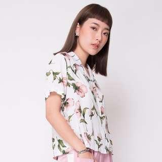 Pink Flora White Shirt