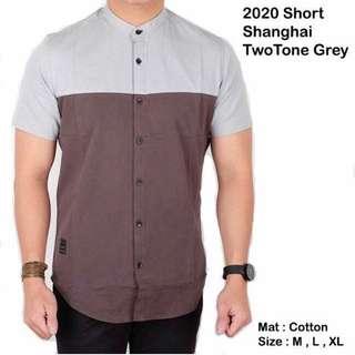 Men's Short Sleeve Shirt Two tone grey