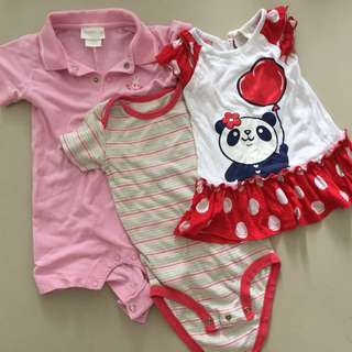 Preloved bundle baby girl rompers & dress