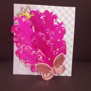 Girls Pink Cristal Feather w/ Sequined Bow Stretch Hairband
