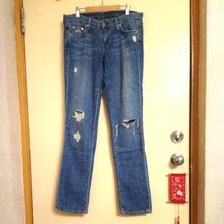 Vintage Matchstick 藍色牛仔褲