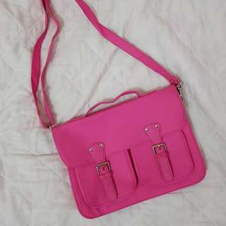 Pink Typo Sling Bag or Laptop Bag