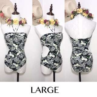 Branded Leaves Printed One Piece Swimsuit FN15