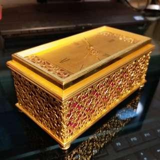 瑞士LOOPING金黄銅古董機械手動上鏈15石座鐘